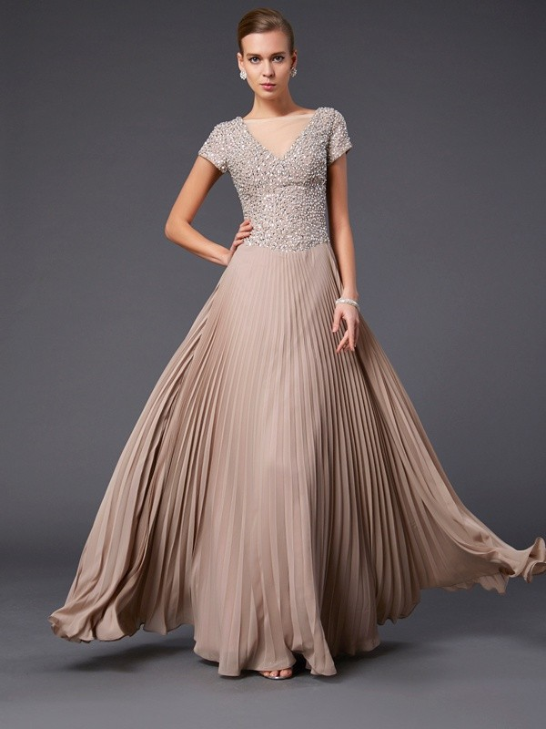 Floor-Length A-Line/Princess V-neck Short Sleeves Beading Chiffon Mother of the Bride Dresses