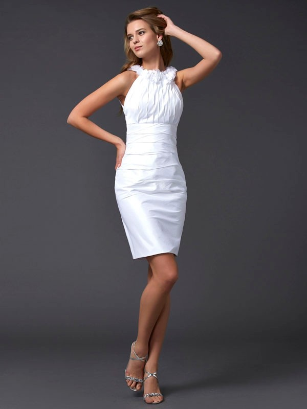 Short/Mini Sheath/Column High Neck Sleeveless Hand-Made Flower Taffeta Dresses