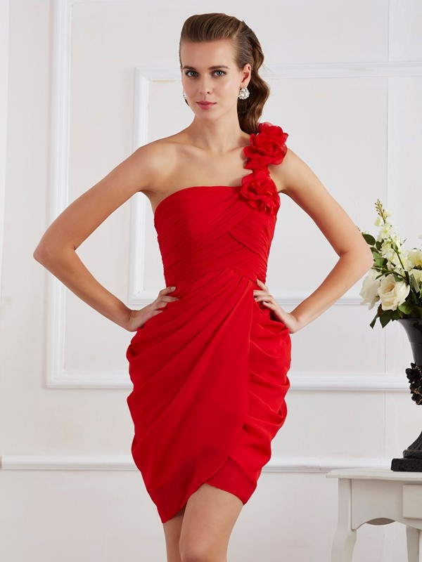 Short/Mini Sheath/Column One-Shoulder Sleeveless Hand-Made Flower Chiffon Dresses