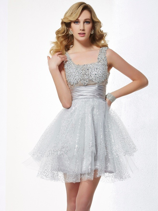 Short/Mini A-Line/Princess Straps Sleeveless Beading Elastic Woven Satin Dresses