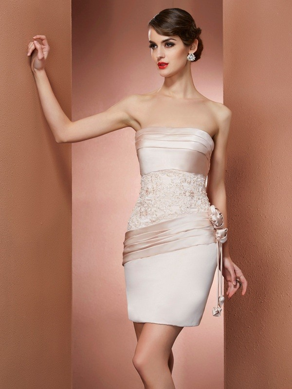 Short/Mini Sheath/Column Strapless Sleeveless Hand-Made Flower Satin Dresses