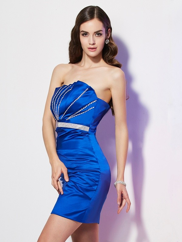 Short/Mini Sheath/Column Strapless Sleeveless Beading Satin Dresses