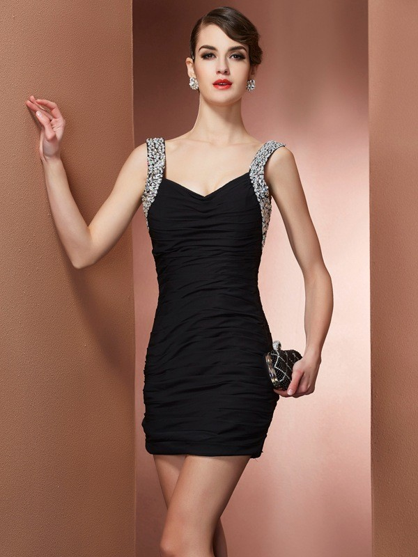 Short/Mini Sheath/Column Straps Sleeveless Beading Chiffon Dresses