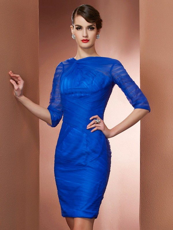 Short/Mini Sheath/Column High Neck 1/2 Sleeves Pleats Elastic Woven Satin Dresses