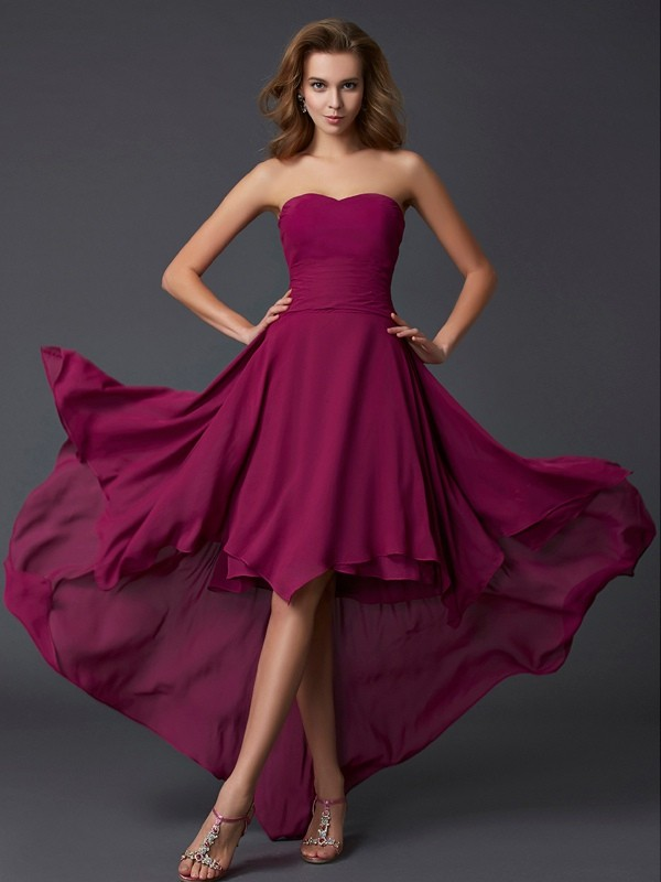 Asymmetrical A-Line/Princess Sweetheart Sleeveless Pleats Chiffon Dresses