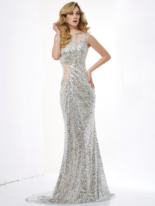 Sweep/Brush Train Trumpet/Mermaid One-Shoulder Sleeveless Paillette Sequins Dresses