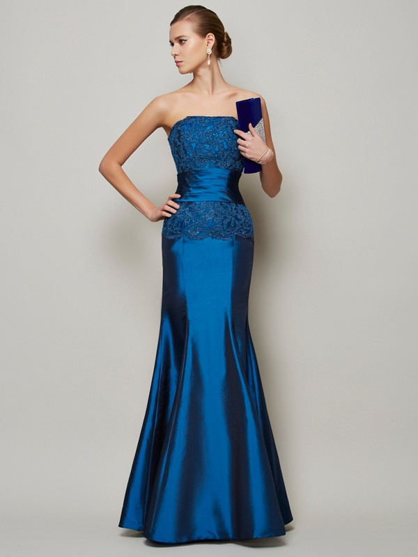 Floor-Length Trumpet/Mermaid Strapless Sleeveless Beading Taffeta Dresses