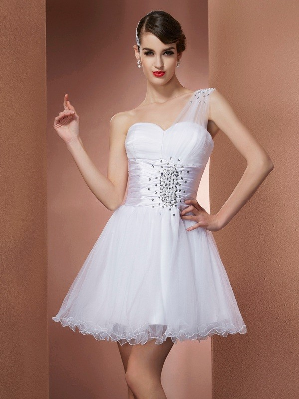 Short/Mini A-Line/Princess One-Shoulder Sleeveless Beading Satin Dresses