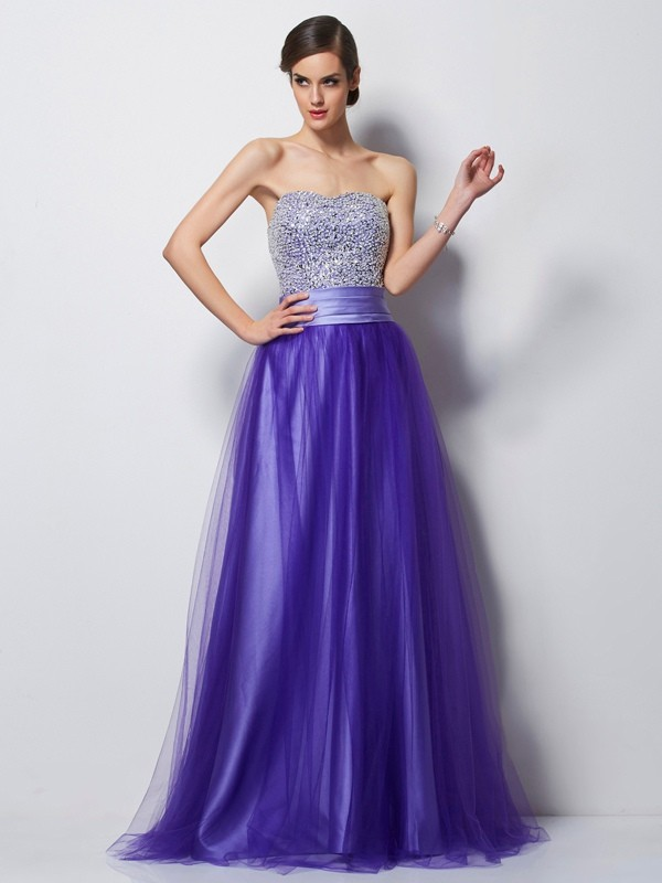 Floor-Length A-Line/Princess Sweetheart Sleeveless Beading Satin Dresses