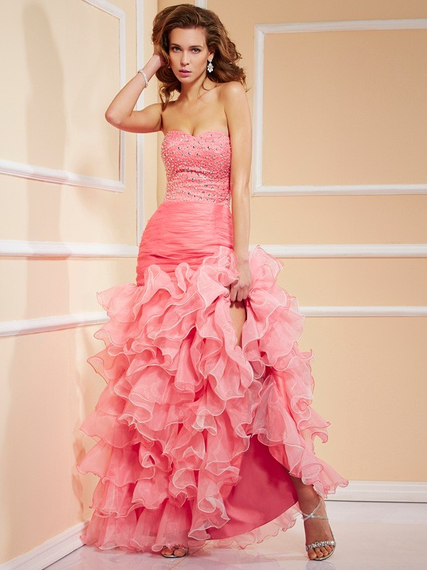 Asymmetrical Trumpet/Mermaid Sweetheart Sleeveless Ruffles Organza Dresses