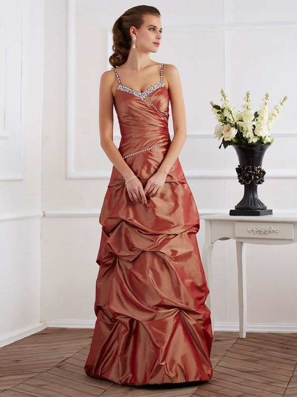Floor-Length Sheath/Column Spaghetti Straps Sleeveless Beading Taffeta Dresses