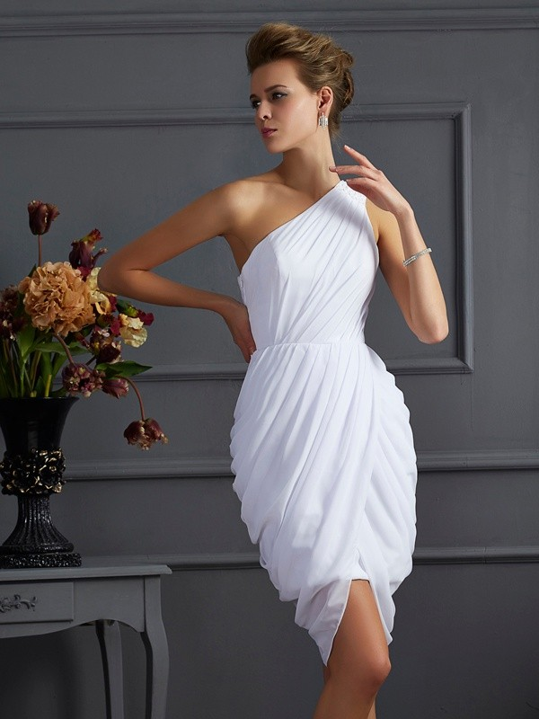 Short/Mini Sheath/Column One-Shoulder Sleeveless Pleats Chiffon Dresses