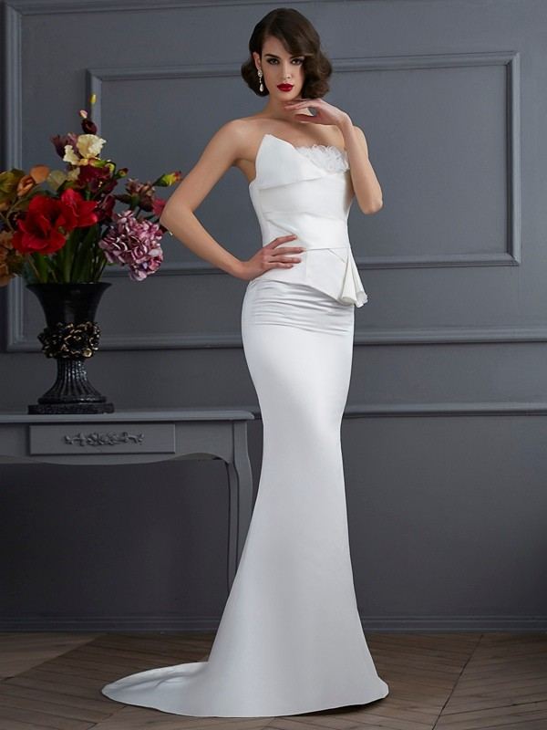 Sweep/Brush Train Trumpet/Mermaid Strapless Sleeveless Hand-Made Flower Satin Dresses