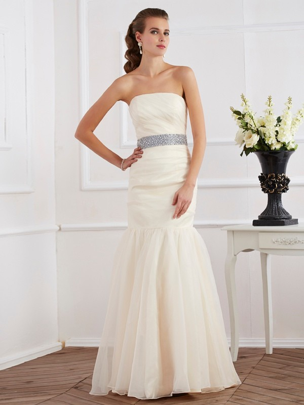 Floor-Length Trumpet/Mermaid Strapless Sleeveless Sash/Ribbon/Belt Organza Dresses