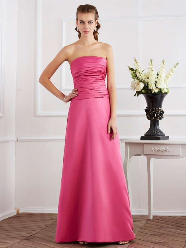 Floor-Length Sheath/Column Strapless Sleeveless Pleats Satin Dresses