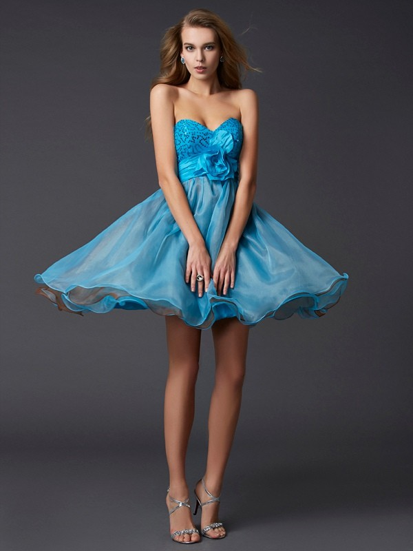 Short/Mini A-Line/Princess Sweetheart Sleeveless Paillette Taffeta Dresses