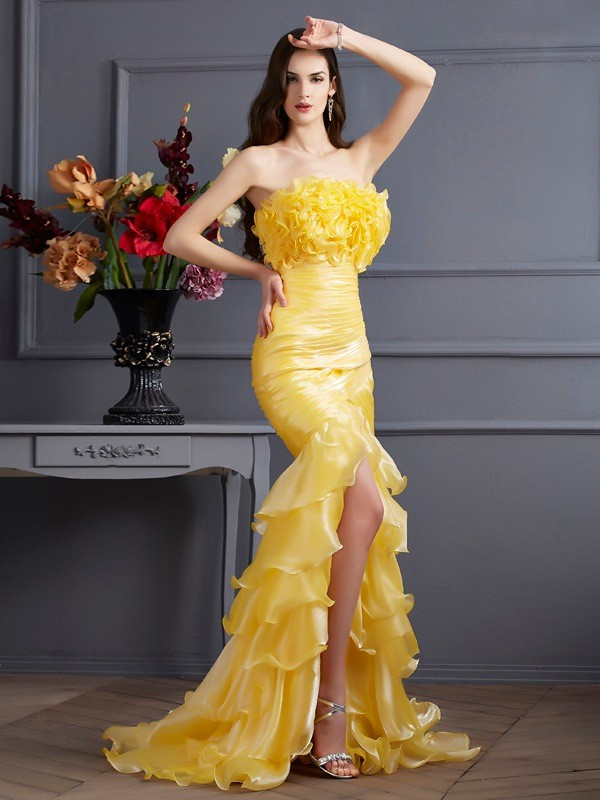 Sweep/Brush Train Trumpet/Mermaid Strapless Sleeveless Ruffles Tulle Dresses