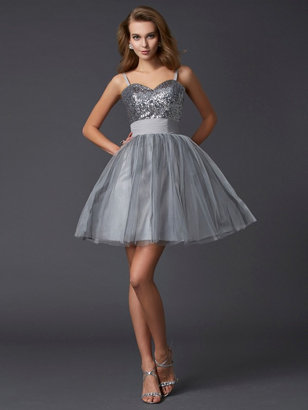 Short/Mini A-Line/Princess Spaghetti Straps Sleeveless Other Organza Dresses
