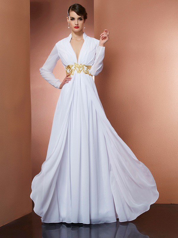 Floor-Length A-Line/Princess V-neck Long Sleeves Other Chiffon Dresses