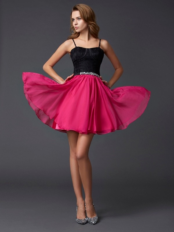 Short/Mini A-Line/Princess Spaghetti Straps Sleeveless Other Chiffon Dresses