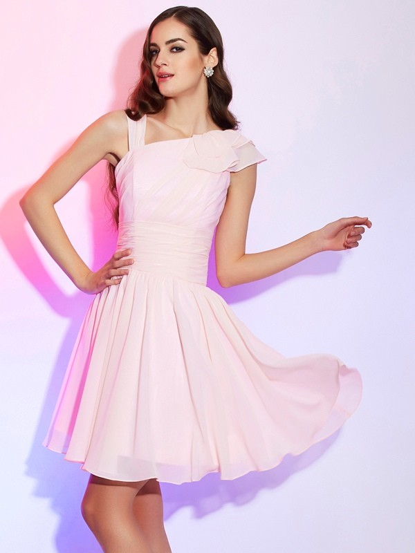 Short/Mini A-Line/Princess Other Sleeveless Pleats Chiffon Dresses