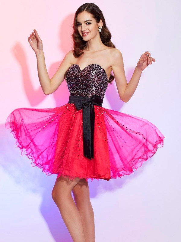 Short/Mini A-Line/Princess Sweetheart Sleeveless Sash/Ribbon/Belt Organza Dresses