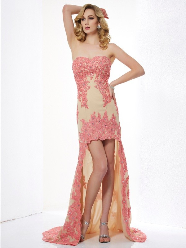 Asymmetrical A-Line/Princess Sweetheart Sleeveless Applique Lace Dresses