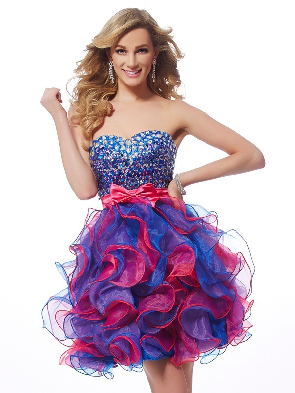 Short/Mini A-Line/Princess Sweetheart Sleeveless Sequin Organza Dresses
