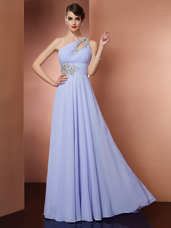 Sweep/Brush Train A-Line/Princess One-Shoulder Sleeveless Beading Chiffon Dresses