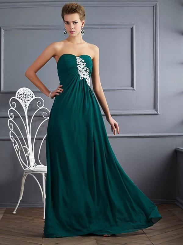 Floor-Length Sheath/Column Sweetheart Sleeveless Beading Chiffon Dresses