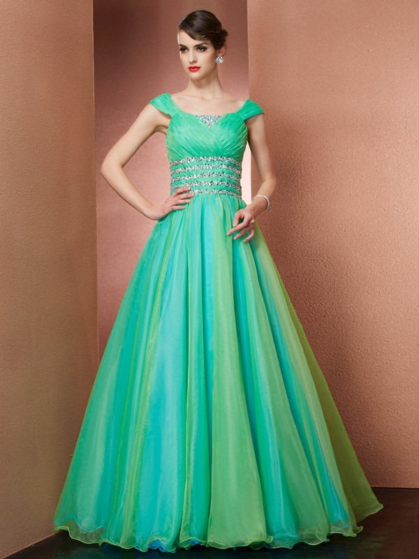 Floor-Length Ball Gown Off-the-Shoulder Sleeveless Beading Satin Dresses