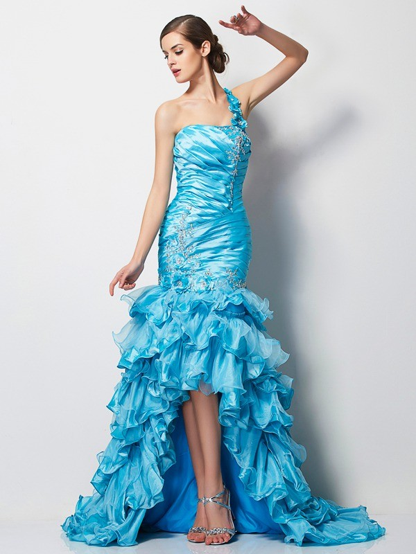 Asymmetrical Trumpet/Mermaid One-Shoulder Sleeveless Beading Taffeta Dresses
