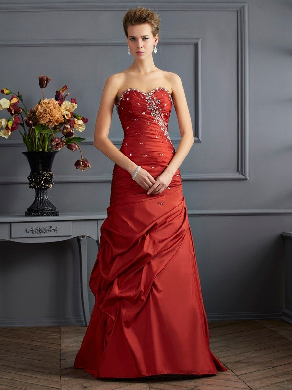 Floor-Length Trumpet/Mermaid Sweetheart Sleeveless Beading Taffeta Dresses
