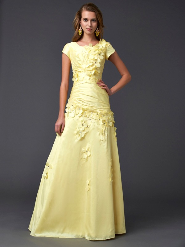 Floor-Length Sheath/Column Scoop Short Sleeves Other Taffeta Dresses
