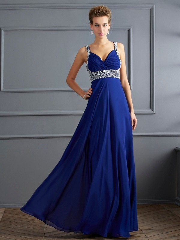 Floor-Length Sheath/Column Straps Sleeveless Beading Chiffon Dresses