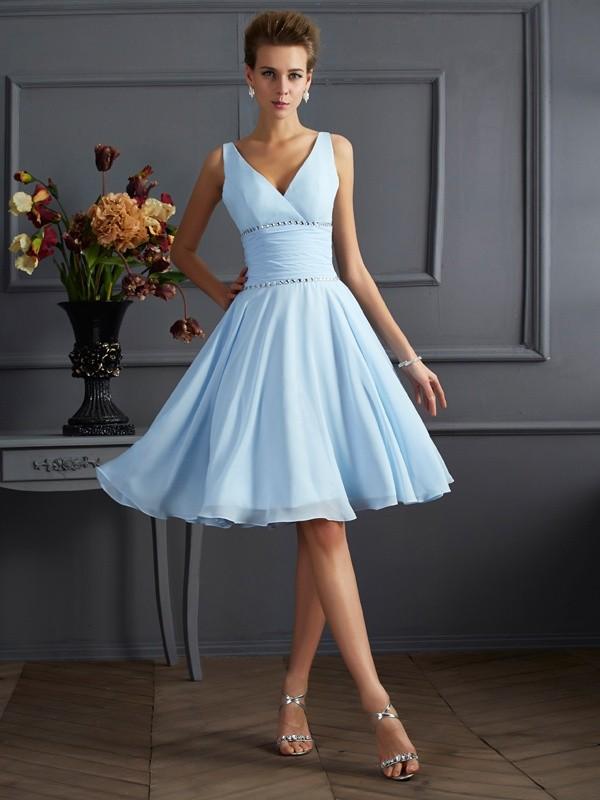 Knee-Length A-Line/Princess V-neck Sleeveless Pleats Chiffon Bridesmaid Dresses