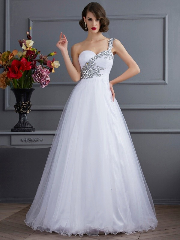Floor-Length Ball Gown One-Shoulder Sleeveless Beading Elastic Woven Satin Dresses