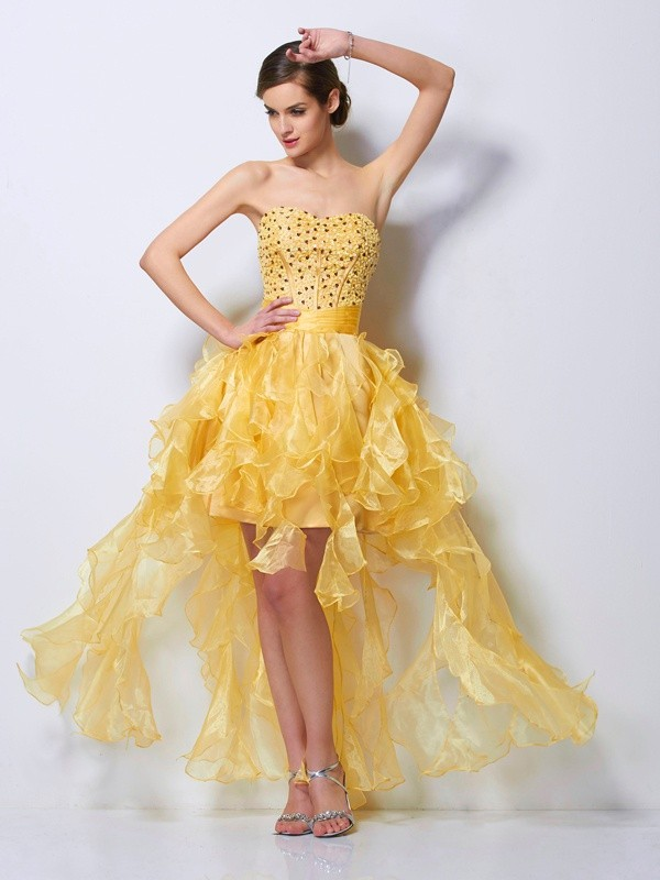 Asymmetrical A-Line/Princess Sweetheart Sleeveless Beading Tulle Dresses