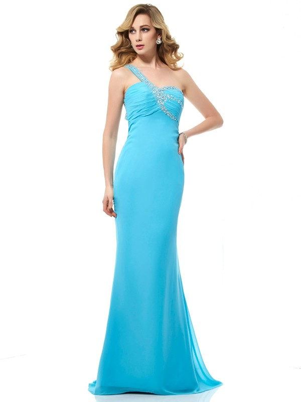 Sweep/Brush Train Trumpet/Mermaid One-Shoulder Sleeveless Beading Chiffon Dresses