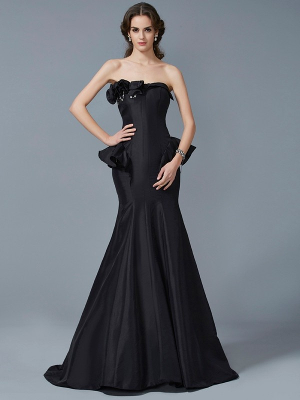 Sweep/Brush Train Trumpet/Mermaid Strapless Sleeveless Ruffles Taffeta Dresses