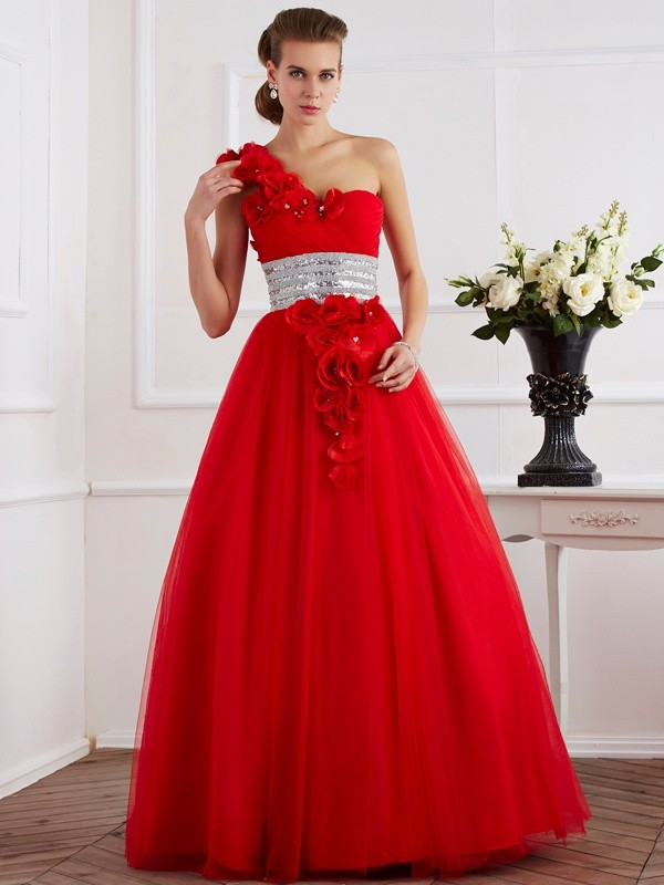 Floor-Length Ball Gown One-Shoulder Sleeveless Hand-Made Flower Net Dresses