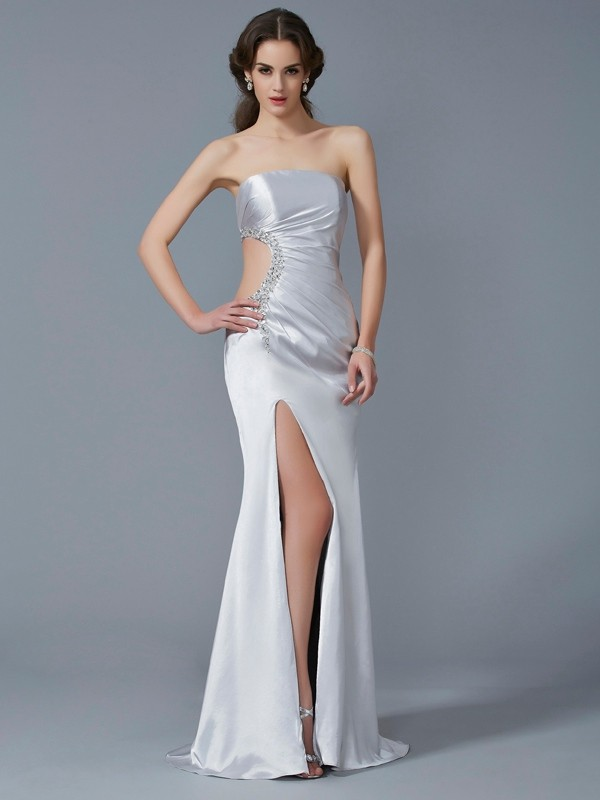 Sweep/Brush Train Trumpet/Mermaid Strapless Sleeveless Beading Elastic Woven Satin Dresses