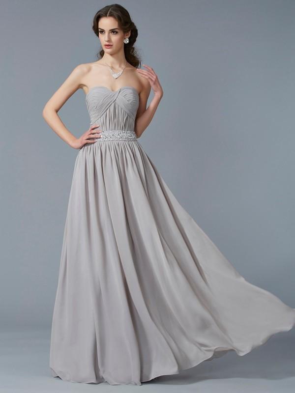 Floor-Length A-Line/Princess Sweetheart Sleeveless Beading Chiffon Dresses