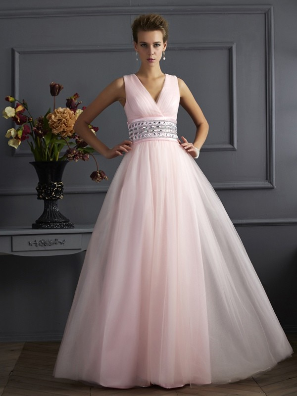 Floor-Length Ball Gown V-neck Sleeveless Beading Net Dresses