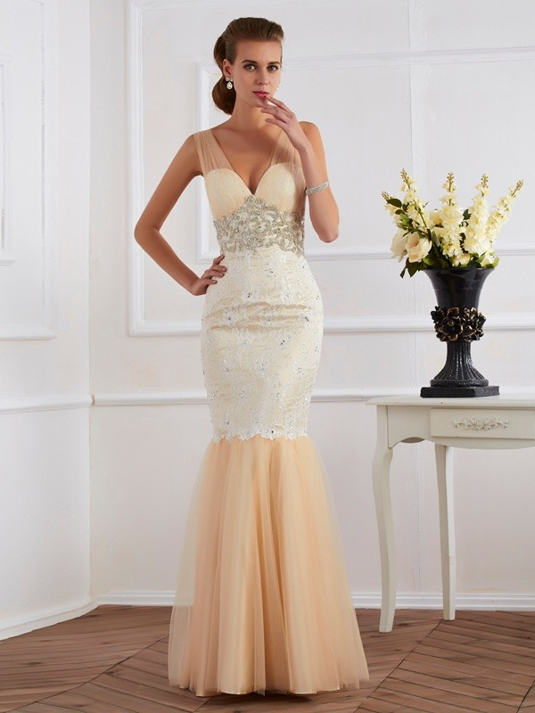 Floor-Length Trumpet/Mermaid Straps Sleeveless Beading Lace Dresses