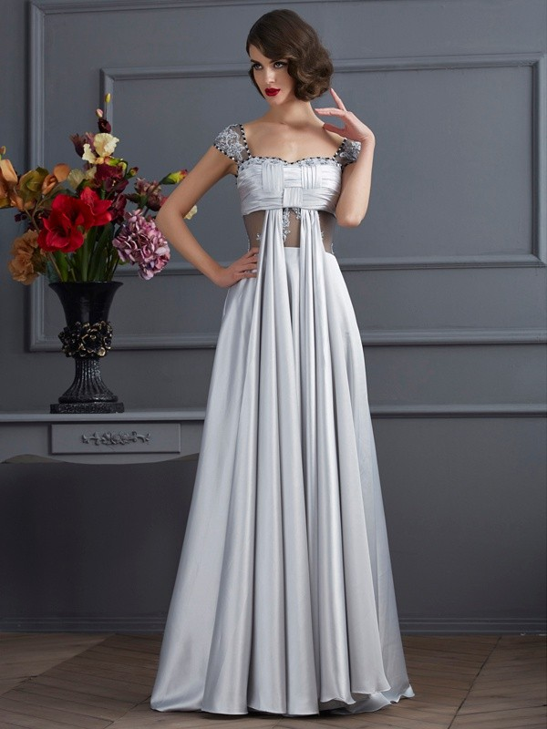Floor-Length A-Line/Princess Off-the-Shoulder Sleeveless Pleats Elastic Woven Satin Dresses