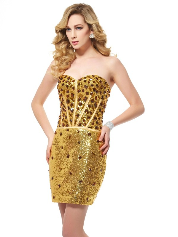 Short/Mini Sheath/Column Sweetheart Sleeveless Other Sequins Dresses