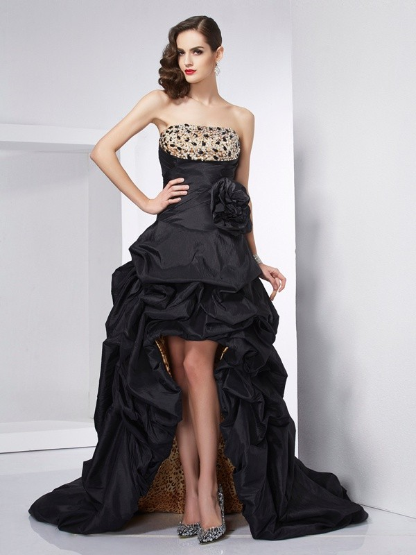 Asymmetrical A-Line/Princess Strapless Sleeveless Beading Taffeta Dresses