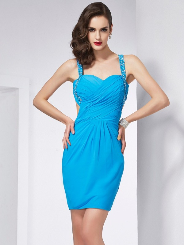 Short/Mini Sheath/Column Spaghetti Straps Sleeveless Beading Chiffon Dresses