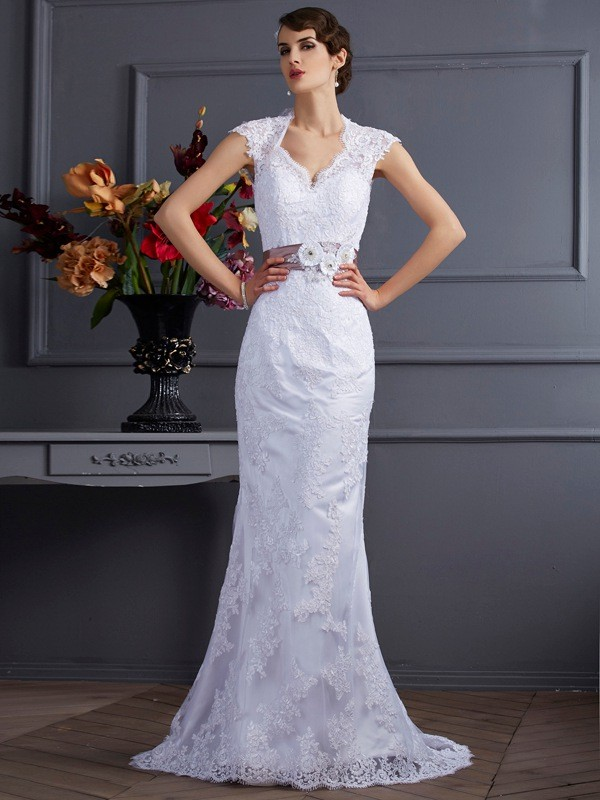 Sweep/Brush Train Trumpet/Mermaid Other Sleeveless Applique Satin Wedding Dresses